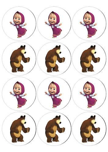Masha and the Bear Characters Round Glossy Stickers - 12 pcs set
