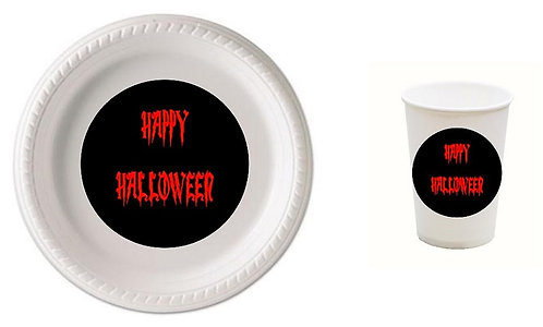 HAPPY HALLOWEEN Plastic Plates with Cups - 12 pcs set