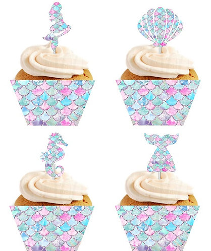 Mermaid Cupcakes Toppers or Wrappers - 12 or