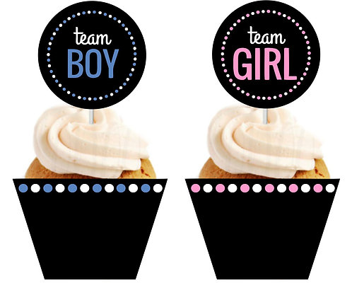 Team Boy Team Girl Gender Reveal Baby Shower Cupcakes Toppers or Wrappers