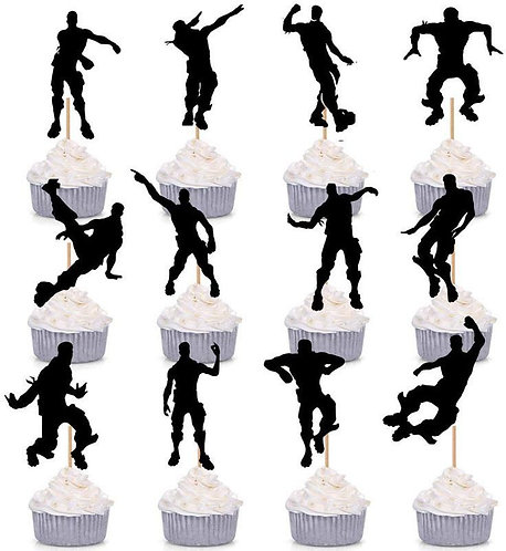 Fortnite Game Floss Dance Shapes Cupcakes Toppers or Wrappers -12 or 24 pcs