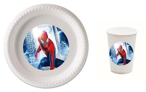 Spiderman Plastic Plates with Cups - 12 pcs set