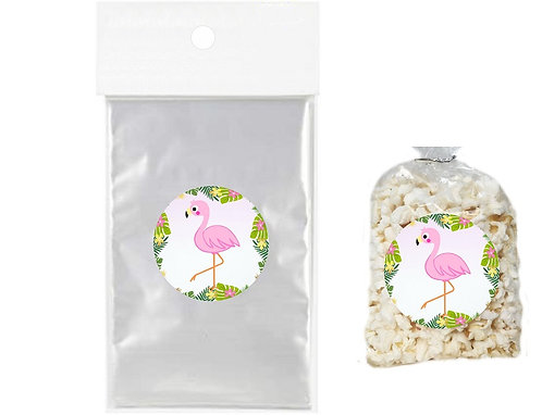 Flamingo Giveaways Clear Bags for Popcorn or Candies - 12 pcs set
