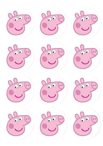 Peppa Pig Head Round Glossy Stickers - 12 pcs set