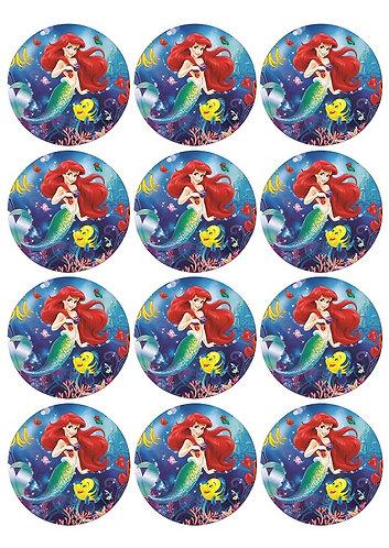 Princess Ariel Little Mermaid Round Glossy Stickers - 12 pcs set