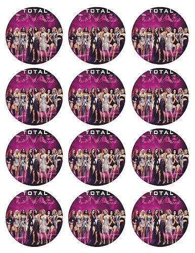 WWE Divas Round Glossy Stickers - 12 pcs set