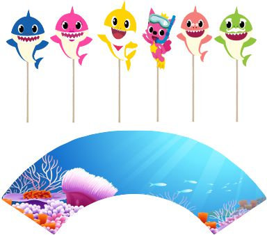 Baby Shark Characters Cupcakes Toppers or Wrappers -12 or 24pcs