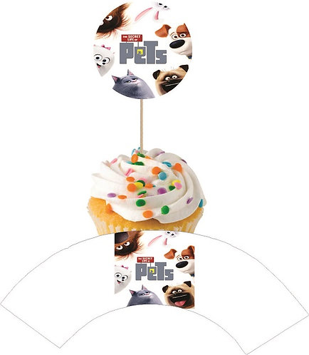 Secret Life of Pets Round Cupcakes Toppers or Wrappers -12 or 24pcs