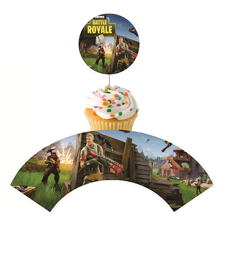 Fortnite Game Round Cupcakes Toppers or Wrappers -12 or 24 pcs