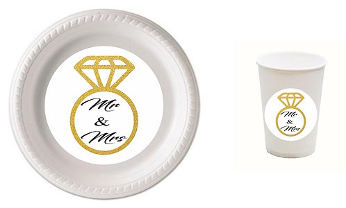 MR & MRS Wedding Engaged Plastic Plates with Cups - 12 pcs set