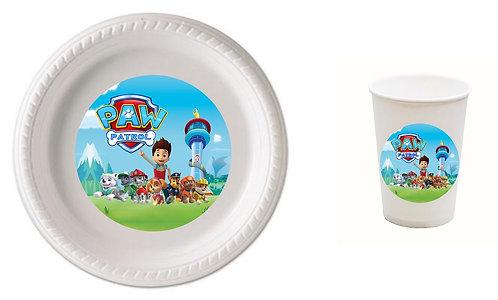 Paw Patrol Plastic Plates with Cups - 12 pcs set