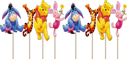 Winnie the Pooh Characters Cupcakes Toppers or Wrappers - 12 pcs or 24 pcs