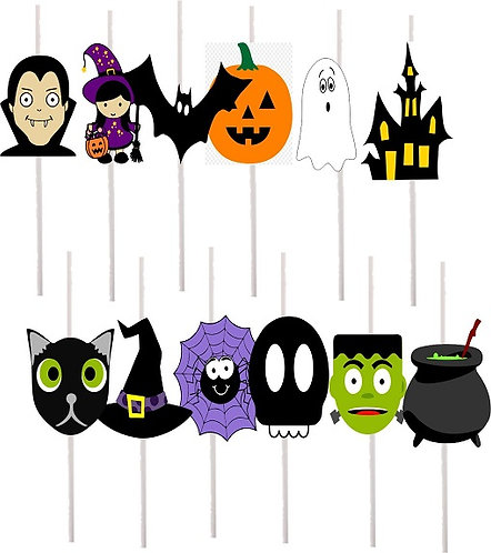 Halloween Characters Cakepops Toppers - 12 pcs set