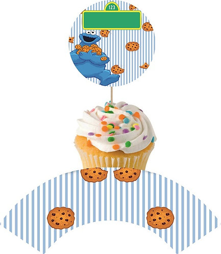 Sesame Street Cookie Monster Round Cupcakes Toppers or Wrappers -12 or 24 pcs
