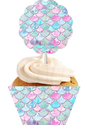 Mermaid Scalloped Cupcakes Toppers or Wrappers - 12 or