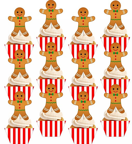 CHRISTMAS Ginger Cookie Cupcakes Toppers or Wrappers - 12 or 24pcs