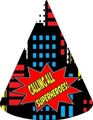 Superheroes Party Hats - 6pcs