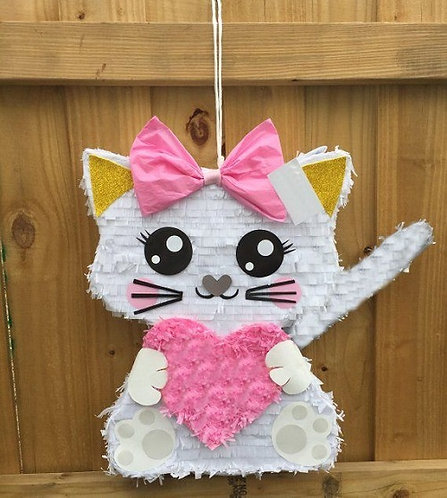WHITE OR BLACK Halloween Cat Birthday Party Pull Strings Pinata - 40 cm