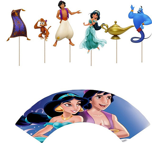 Jasmin Aladdin Characters Cupcakes Toppers or Wrappers -12 or 24pcs