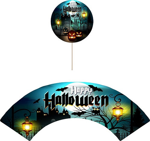 Halloween Castle Round Cupcakes Toppers or Wrappers -12 or 24 pcs