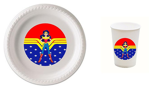 Wonder Woman Plastic Plates with Cups