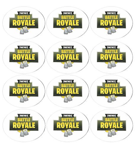 Fortnite Logo Round Glossy Stickers - 12 pcs set