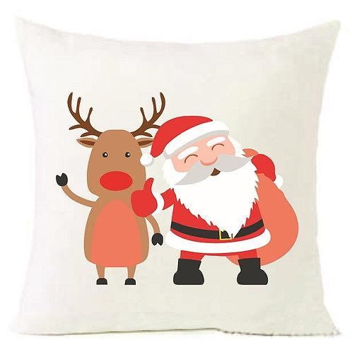 Christmas Santa Claus Reindeer Cushion Decorative Pillow COTTON OR LINEN - 40cm
