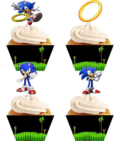 Sonic Game Characters Cupcakes Toppers or Wrappers -12 or 24 pcs
