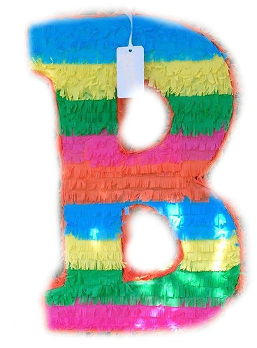 ANY LETTER Colorful Rainbow Birthday Party Pull Strings Pinata - 40 cm