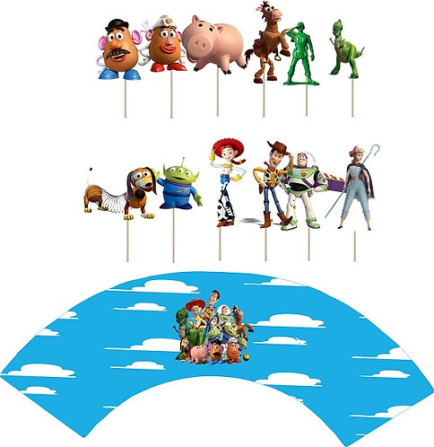 Toy Story Characters Cupcakes Toppers or Wrappers -12 or 24 pcs
