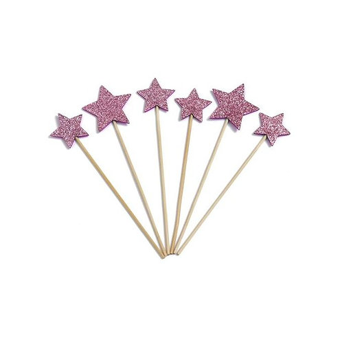 Glitter Purple Stars Cupcakes Toppers or Wrappers -12 or 24 pcs