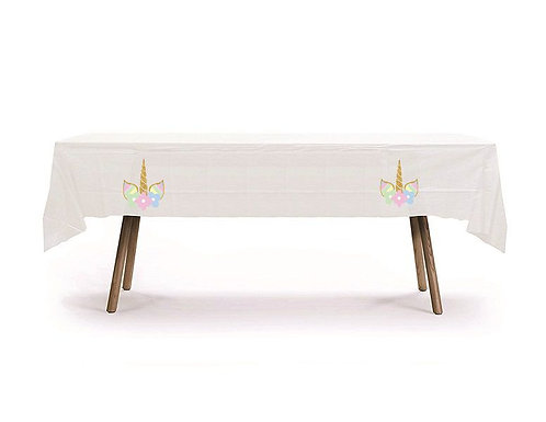 Unicorn Plastic Table Cover with Stickers - 140 cm x 275cm