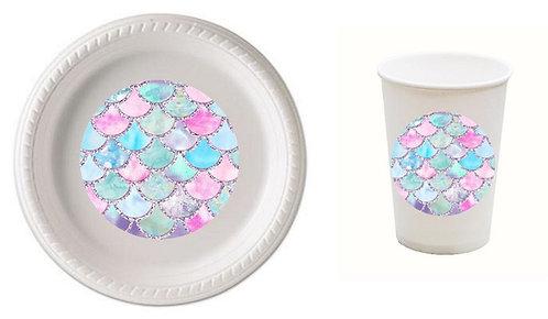 Mermaid Plastic Plates with Cups - 12 pcs set
