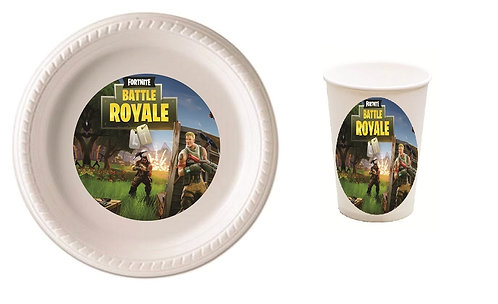 Fortnite Game Plastic Plates with Cups - 12 pcs set