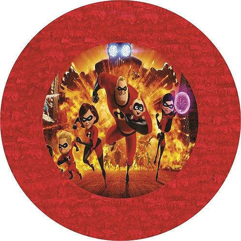 Incredibles Birthday Party Pull Strings Pinata Round - 35 cm