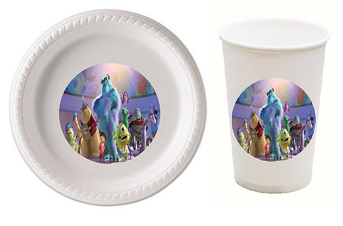 Monsters Inc Plastic Plates with Cups - 12 pcs set
