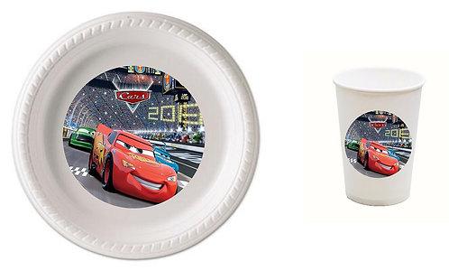 Cars Plastic Plates with Cups - 12 pcs set