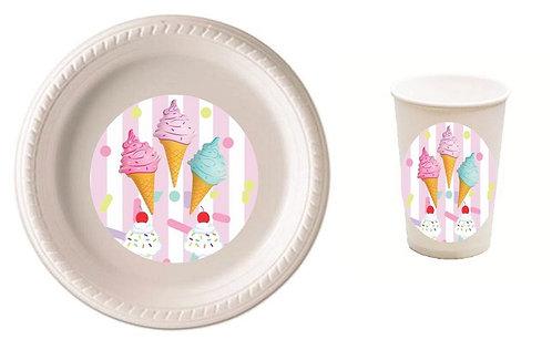 Ice Cream Plastic Plates with Cups
