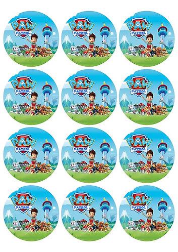 Paw Patrol Round Glossy Stickers - 12 pcs set