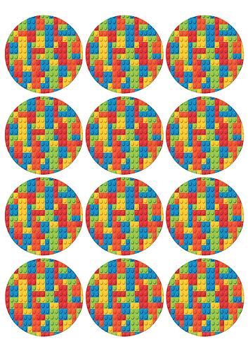 Lego Blocks Round Glossy Stickers - 12 pcs set