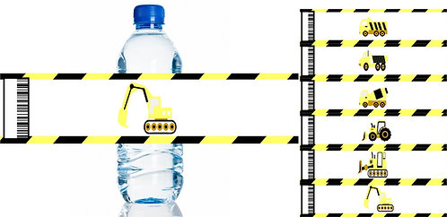 Under Construction Water Bottles Stickers - 6 pcs set