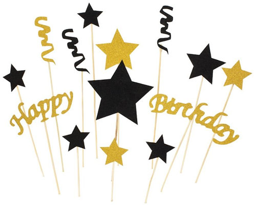 Gold Black Stars Swirls HAPPY BIRTHDAY Cupcakes Toppers or Wrappers -12 - 24 pcs