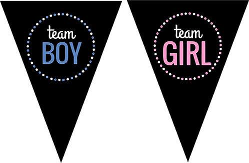 TEAM BOY TEAM GIRL Baby Shower Gender Reveal Banner