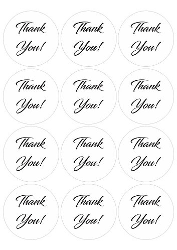 THANK YOU  Round Glossy Stickers - 12 pcs set