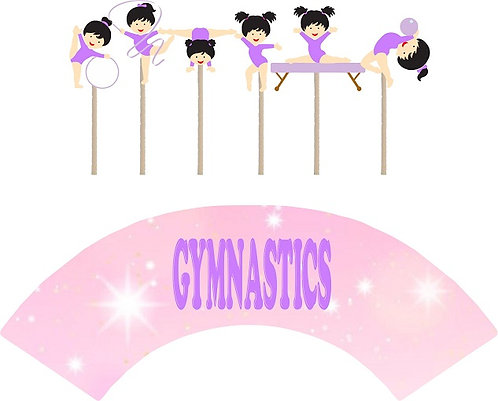 Cute Gymnastics Characters Cupcakes Toppers or Wrappers -12 or 24 pcs