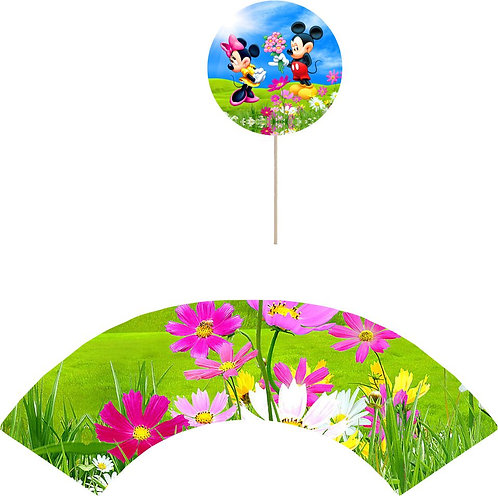 Mickey Minnie Round Cupcakes Toppers or Wrappers -12 or 24 pcs