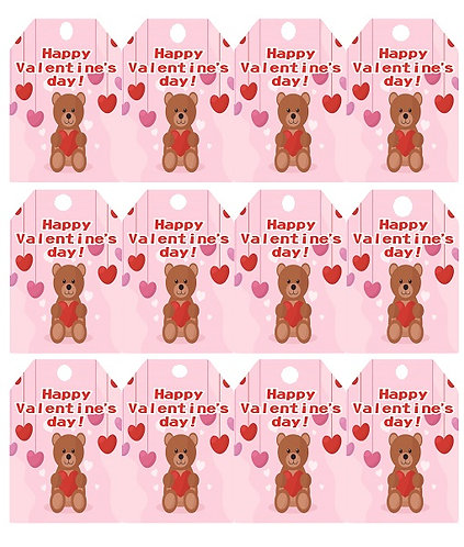 HAPPY VALENTINES DAY Teddy Bear Gifts Tags - 12 pcs set