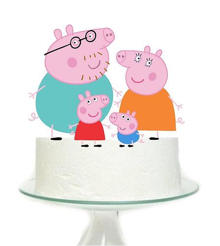 Peppa Pig Family Big Topper for Cake - 4 pcs set