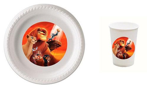 Lion King Plastic Plates with Cups - 12 pcs set