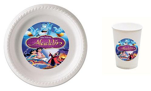 Aladdin Plastic Plates with Cups - 12 pcs set